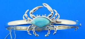larimar crab bangle, sterling