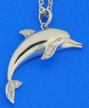 Silver Yellow Plated Dolphin With Coral Pendant 30mm