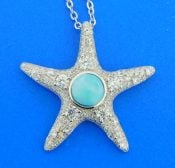 sterling silver starfish larimar cz and sterling silver