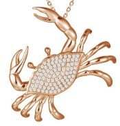 alamea rose gold plated cz blue crab pendant, sterlin