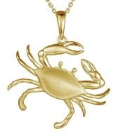 alamea gold plated blue crab pendant, sterling