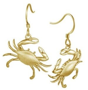 BLUE CRAB EARRING GOLD PLATED STERLING