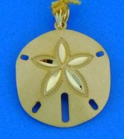 14K diamond-cut sand dollar pendant