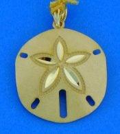 14K diamond-cut sand dollar pendant