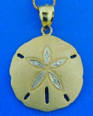 diamond sand dollar pendant, 14k