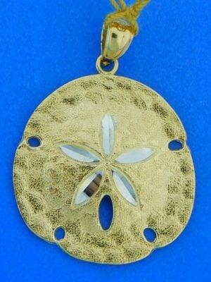 14k diamond cut sand dollar pendant