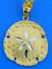 diamond cut sand dollar pendant, 14k