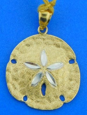 diamond cut sand dollar pendant, 14k