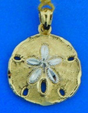 sand dollar 14k 2-tone pendant