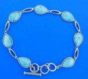 larimar sterling tear drop bracelet, sterling