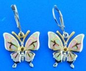 butterfly opal earrings, sterling