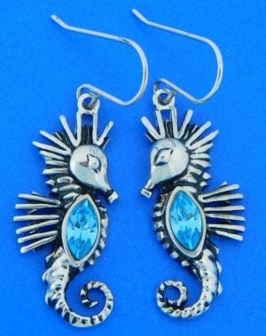 seahorse crystal earrings , sterling