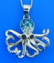 octopus crystal pendant, sterling