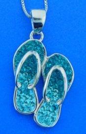 flip flop crystal pendant, sterling