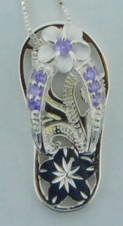 flip flop purple cz pendant, sterling