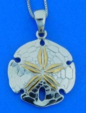 sand dollar pendant 2-tone, sterling