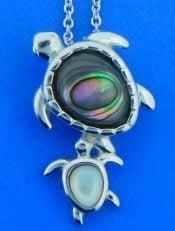sea turtle pendant, sterling