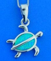 seaturtle pendant, opal, sterling