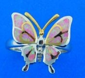 butterfly opal ring, sterling