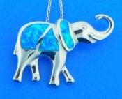 elephant opal pendant, sterling