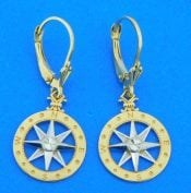 14k compass rose dangle earrings
