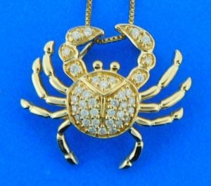 Crab Diamond Pendant, 14K Yellow Gold