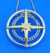 Compass Rose Pendant, 14k & Sterling Silver