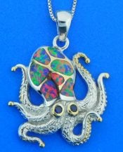 Kovel Dancing Octopus Pendant, Sterling Silver