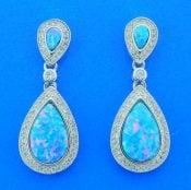 Alamea Tear Drop Opal & CZ Earrings, Sterling Silver