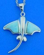 Alamea Stingray Pendant, Larimar & Sterling Silver