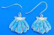 Alamea Sunshell Dangle Earrings, Sterling Silver & Opal