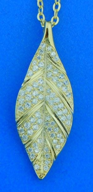 Alamea Maile Leaf Pendant, Sterling Silver & Yellow Gold Plated