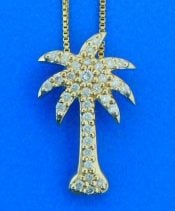 Palm Tree Diamond Pendant, 14K Yellow Gold