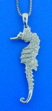 Seahorse Diamond Pendant, 14K White Gold