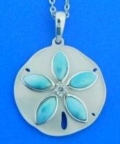 Alamea Sand Dollar Pendant, Sterling Silver & Larimar