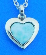 Heart Pendant, Sterling Silver & Larimar