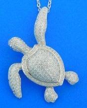 Alamea Sea Turtle Cz Pendant, Sterling Silver