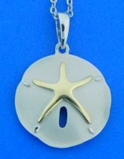 Alamea Sand Dollar 2-Tone Pendant, Sterling Silver & 14k Yellow Gold