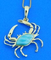 Alamea Blue Crab Pendant, 14K Yellow Gold & Larimar