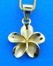 Alamea Plumeria Pendant, 14k Yellow Gold