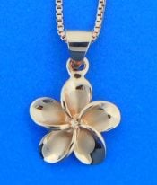 Alamea Plumeria Pendant, 14K Rose Gold