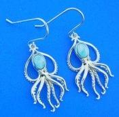 Alamea Octopus Larimar Earrings, Sterling Silver