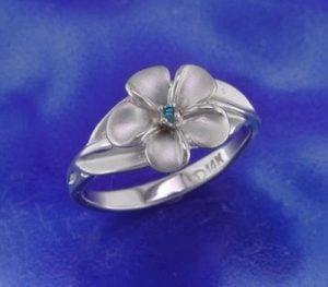 Steven Douglas Plumeria Ring, 14K White Gold