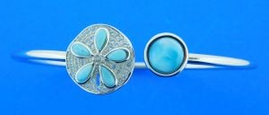 Alamea Sand Dollar Larimar Bangle Bracelet, Sterling Silver