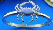 Alamea Blue Crab Bangle Bracelet, Sterling Silver & Opalcrab bangle bracelet