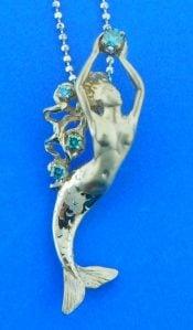 14k Steven Douglas Mermaid Pendant, White Gold & Blue Diamonds