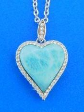 sterling silver larimar heart pendant