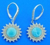 sterling silver sunflower earrings larimar & cz