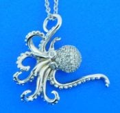 sterling silver octopus pendant with clear cz