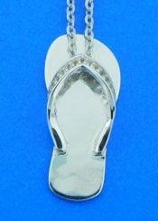 sterling silver flip flop cz pendant